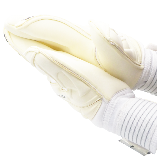 Rub goalkeeper glove palms together